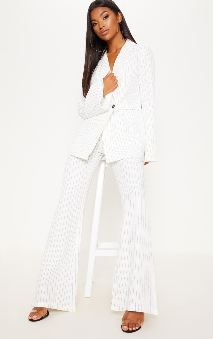 Cream Pinstripe Flared Trouser 1