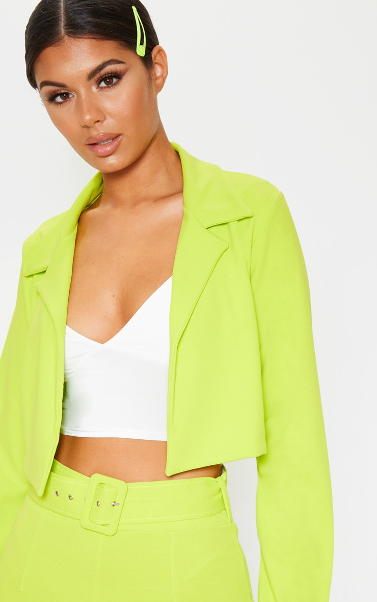 Neon Lime Cropped Suit Blazer 5