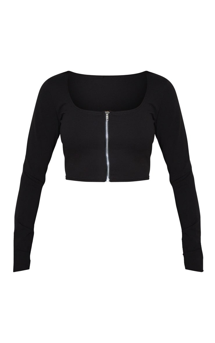 Black Crepe Zip Front Crop Top 3