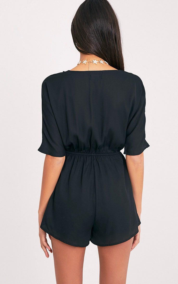 Bobby Black Wrap Front Playsuit  2