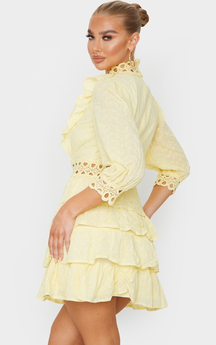 Lemon Lace Trim Broderie Anglaise Tiered Skater Dress 2