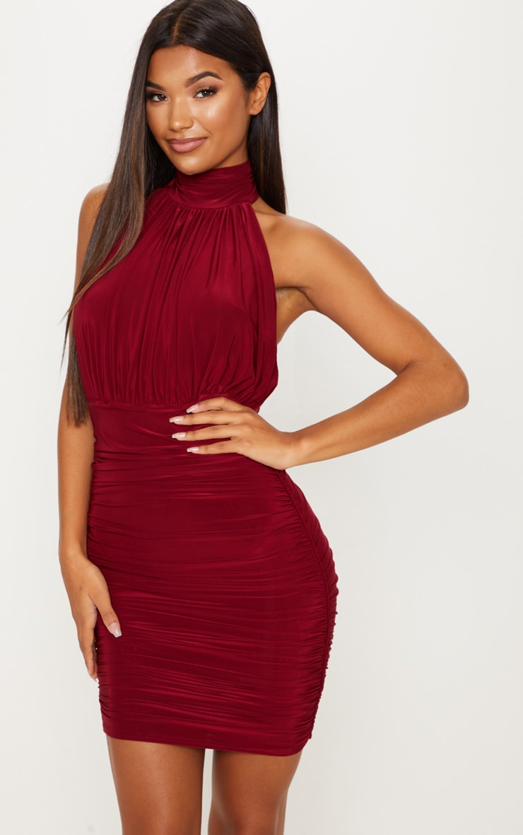 Maroon Slinky High Neck Ruched Side Dress 2