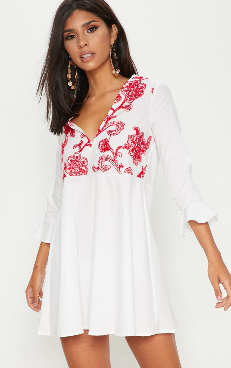 White Embroidered Frill Sleeve Smock Dress