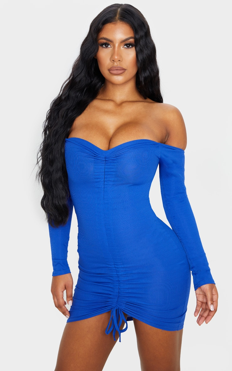Cobalt Ribbed Long Sleeve Bardot Ruched Bodycon Dress 1