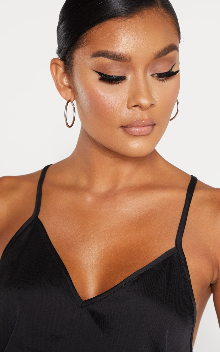 Black Satin V Neck Cami 5