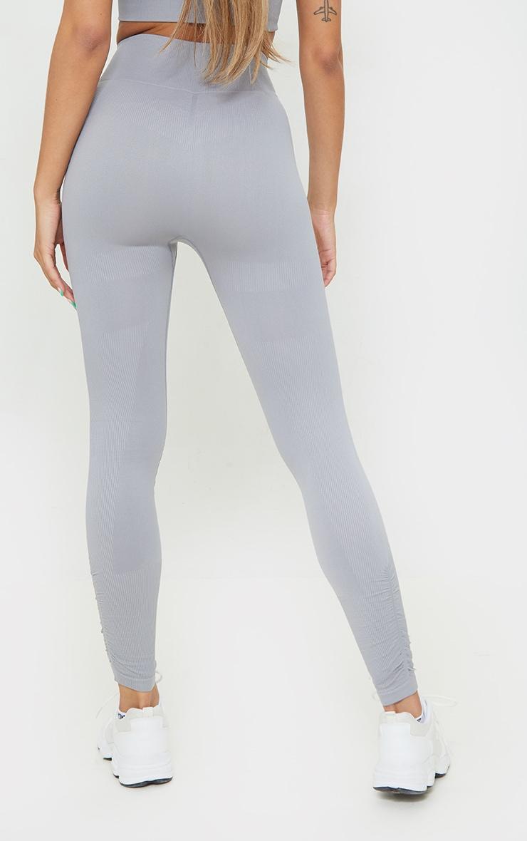 Slate Rib Detail Seamless Gym Leggings 3