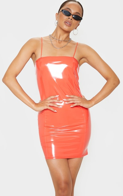 Orange PU Strappy Bodycon Dress