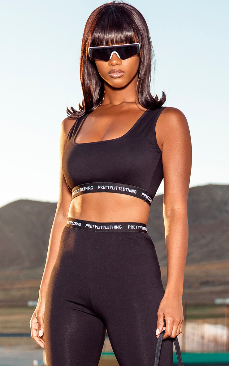 PRETTYLITTLETHING Black Square Neck Crop Top