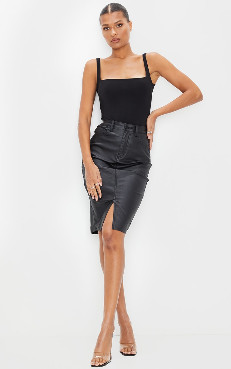 Black Coated Denim Midi Skirt 1