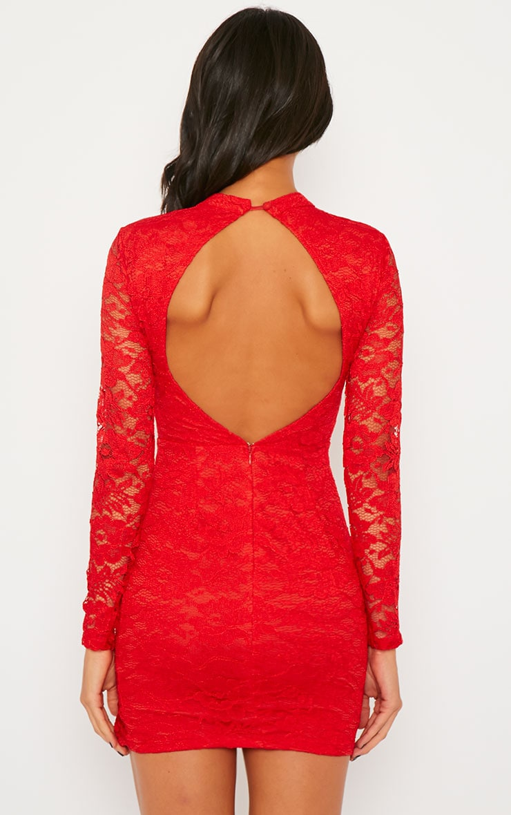 Amber Red Premium Lace Cut Out Back Dress 2