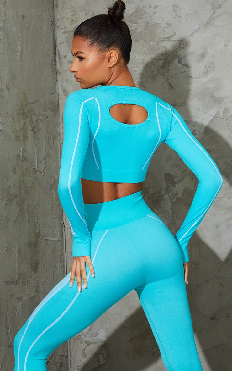 Blue Seamless Contrast Marl Long Sleeve Cut Out Back Gym Top 2