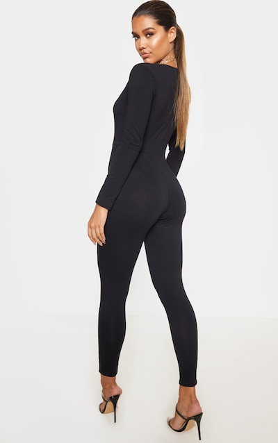 Black Cotton Elastane Long Sleeve Jumpsuit