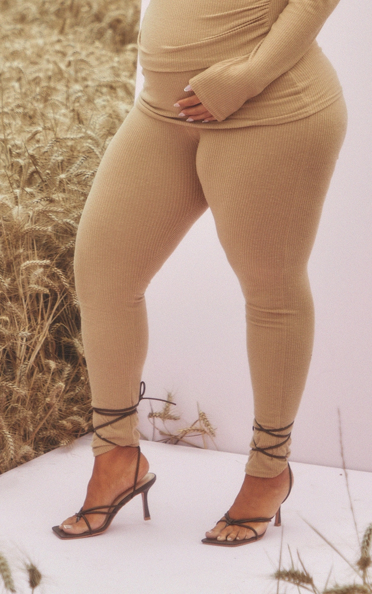Maternity Stone Brushed Rib Leggings 2