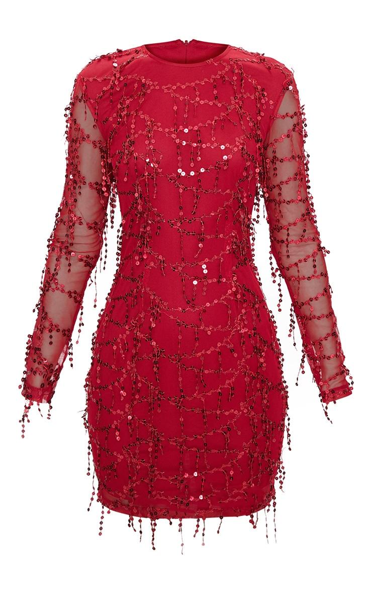 Wine Sequin Detail Long Sleeve Mini Dress 3