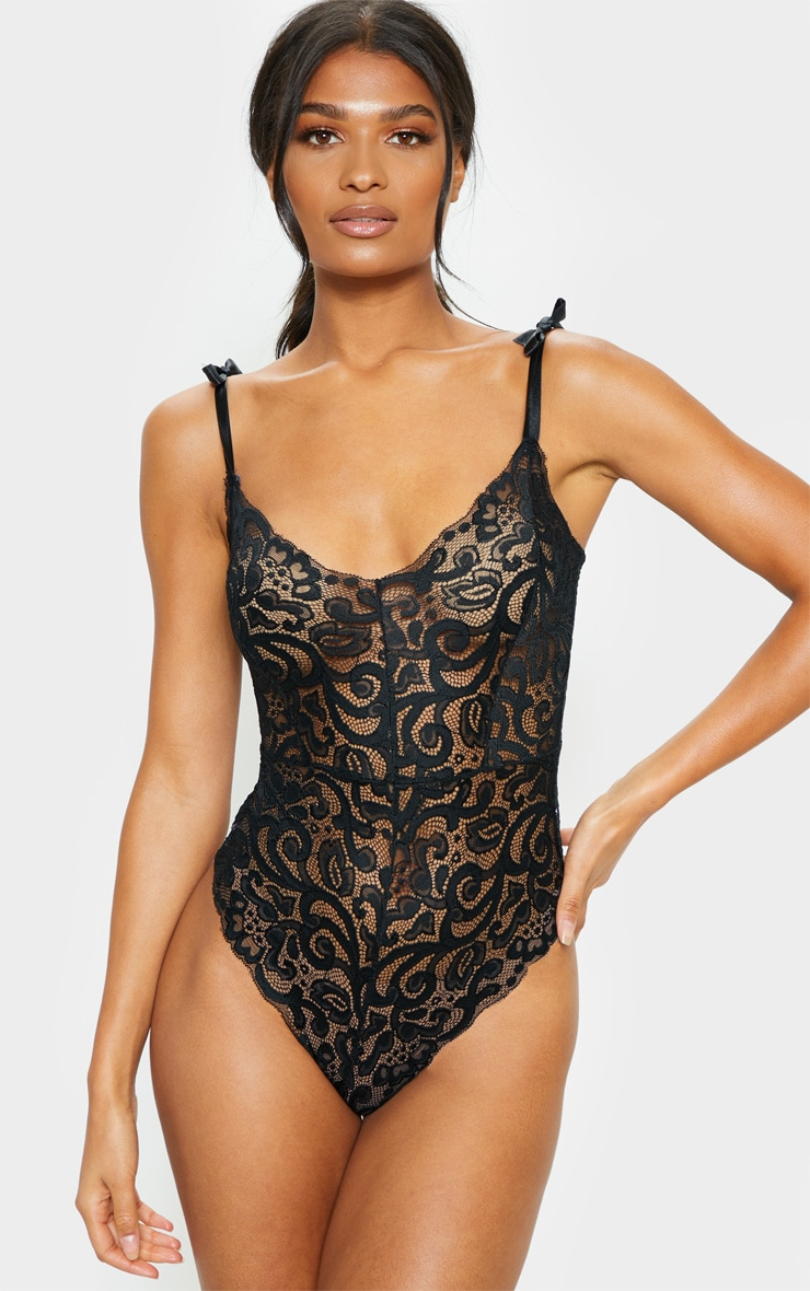 Black Tie Strap Lace Body 1
