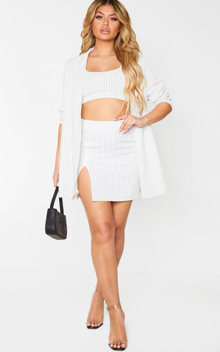 Cream Pinstripe Split Detail Mini Skirt