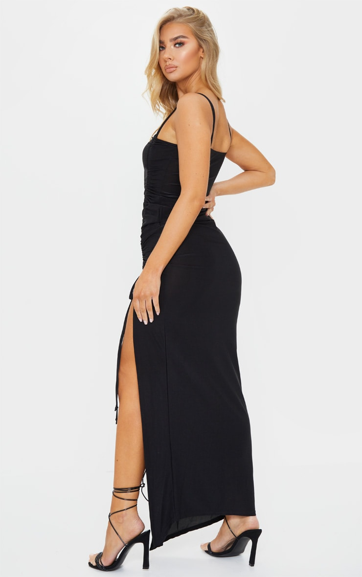 Black Slinky Strappy Side Ruched Maxi Dress 2