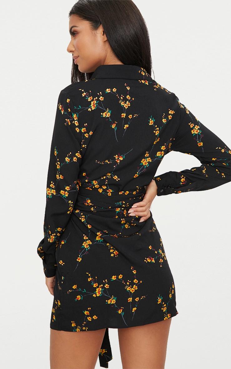 Black Floral Tie Waist Shirt Dress 2