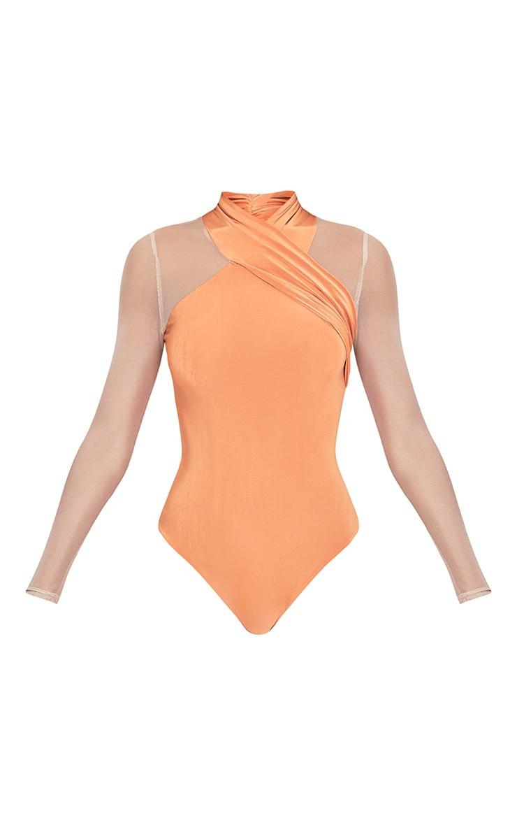 Perry Deep Peach Slinky Mesh Insert Thong Bodysuit 4