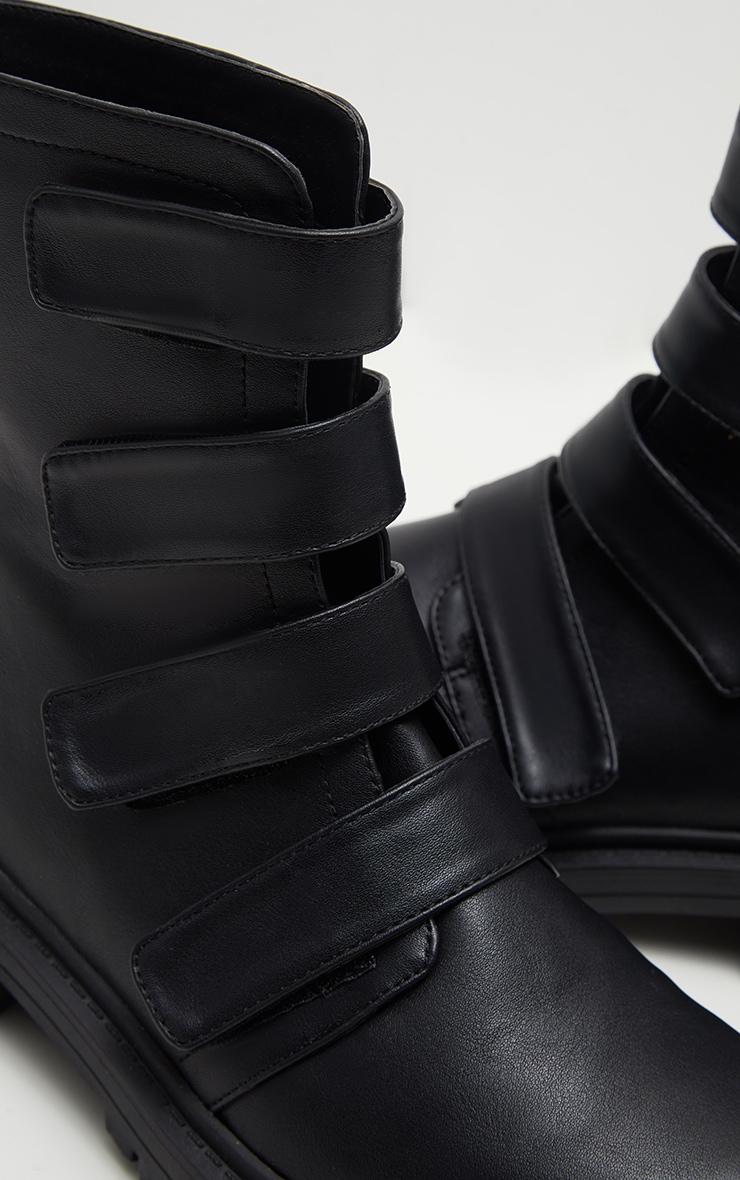 Black Velcro Strap Biker Boot  4