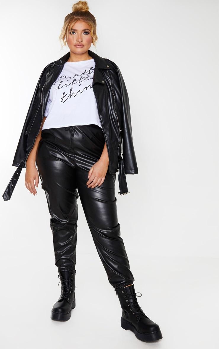Plus Black Elasticated Waist Straight PU Pants 1