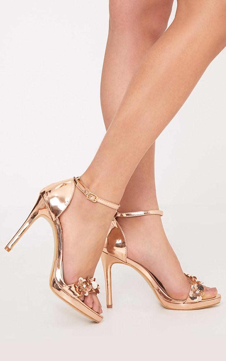 Ayshea Rose Gold Embellished Strappy Heels 3