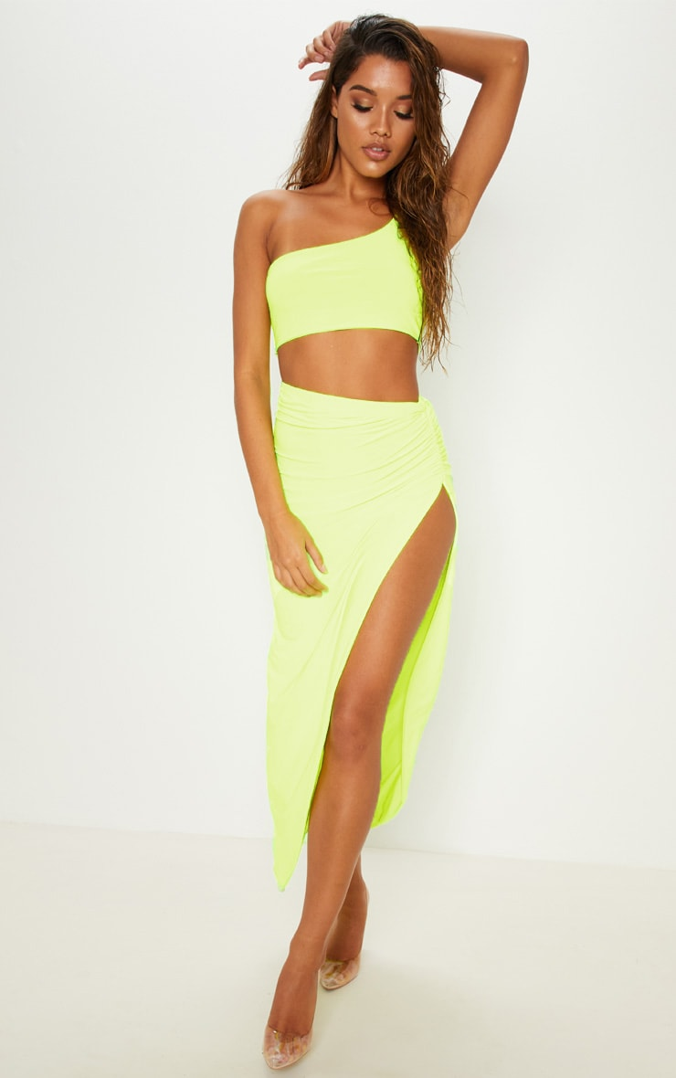 Neon Yellow One Shoulder Crop Top 4