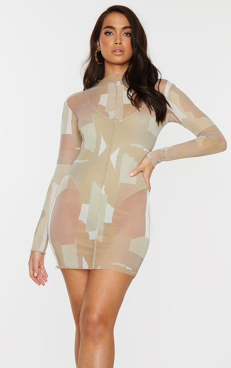 Nude Abstract Print Mesh Long Sleeve Stitch Detail Bodycon Dress 1