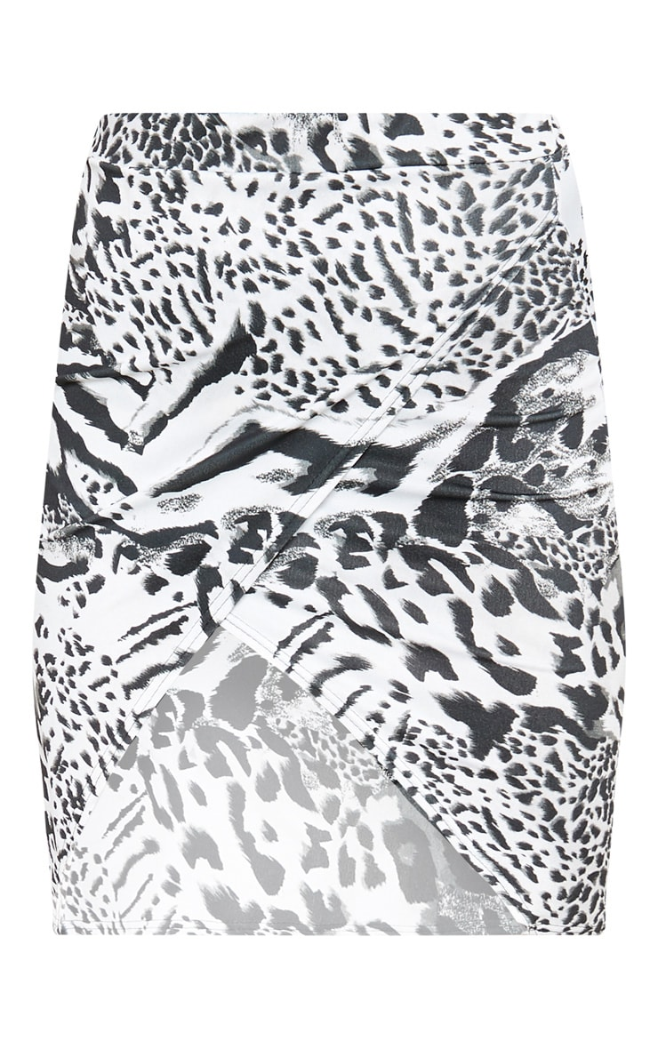 Monochrome Mix Animal Crepe Printed Wrap Skirt 3
