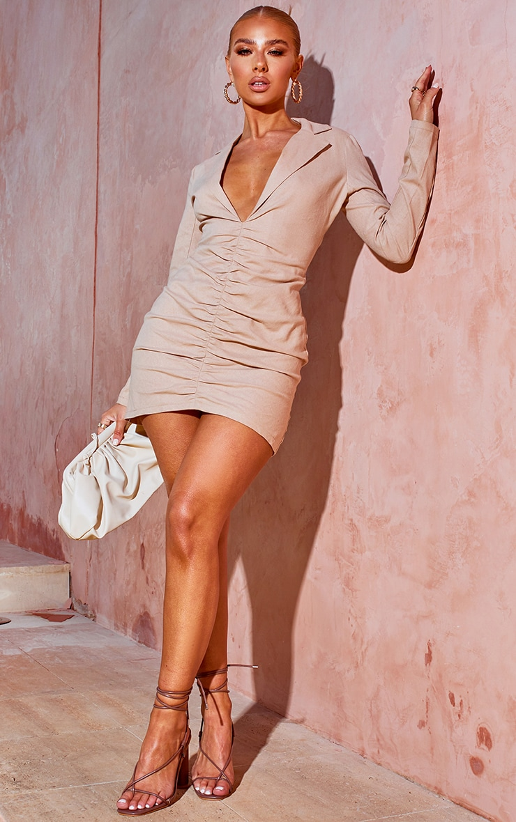 Stone Plunge Ruched Front Blazer Dress