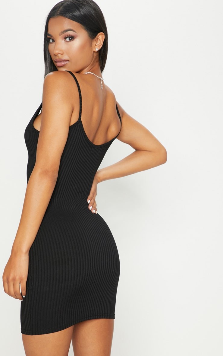 Black Rib Plunge Strappy Bodycon Dress 2