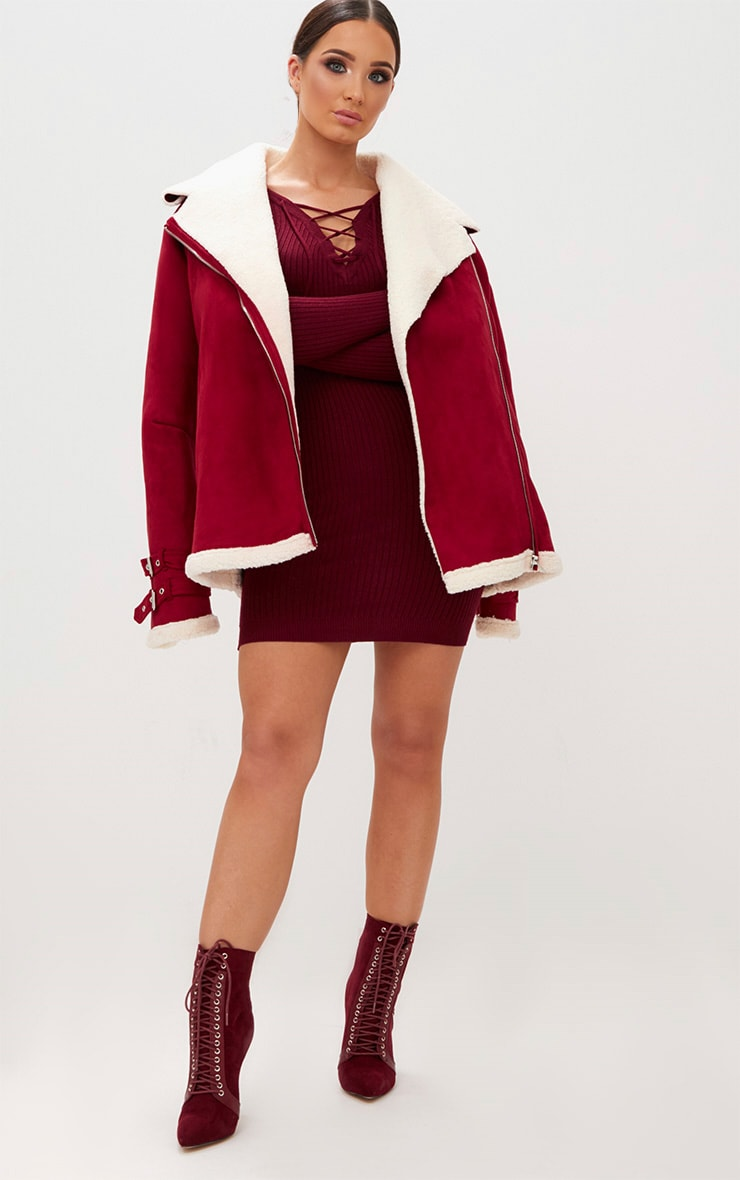 Burgundy Rib Lace Up Dress 4