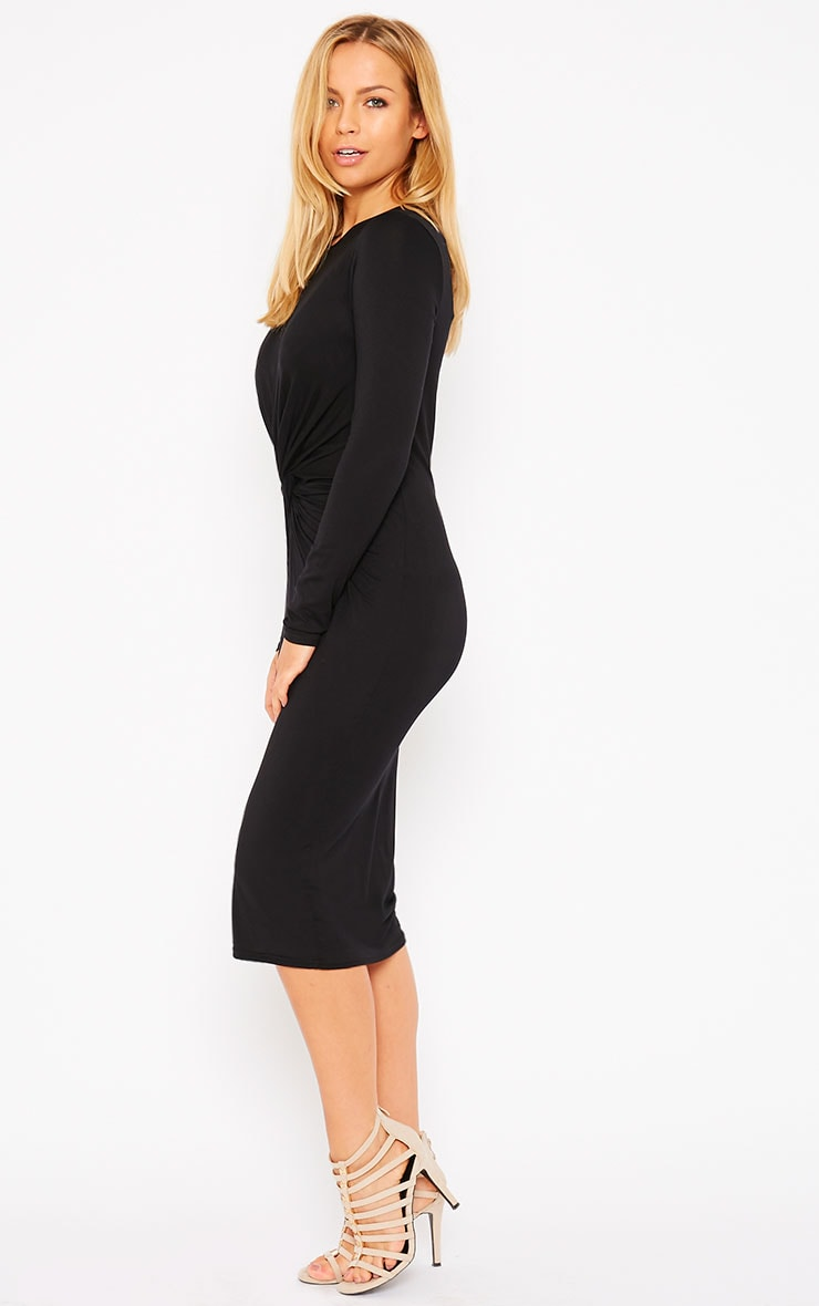 Kenna Black Knot Front Midi Dress 4