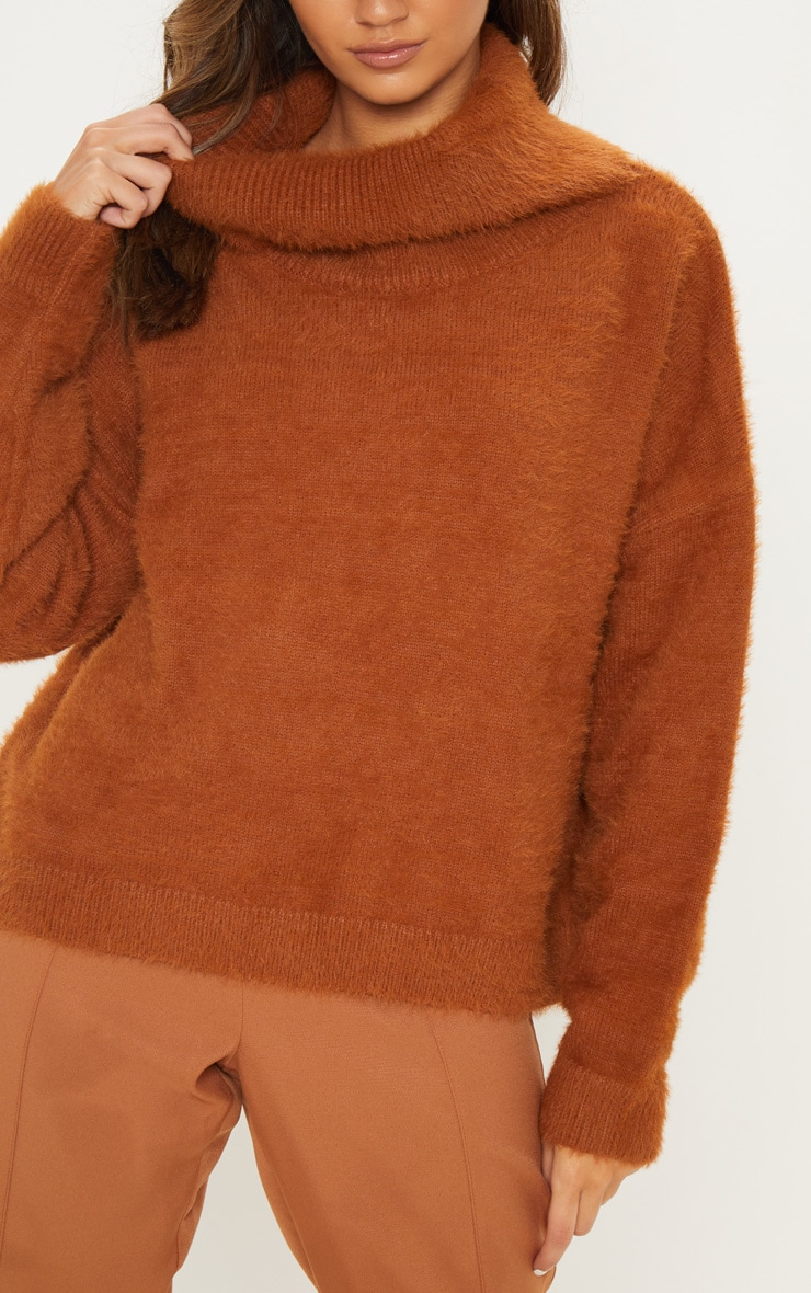 Brown High Neck Eyelash Knitted Jumper 5