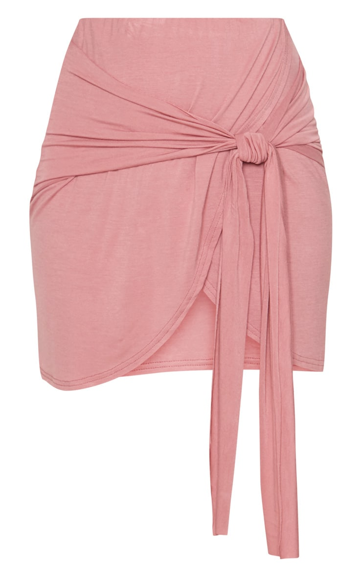 Rose Jersey Tie Side Split Mini Skirt  3