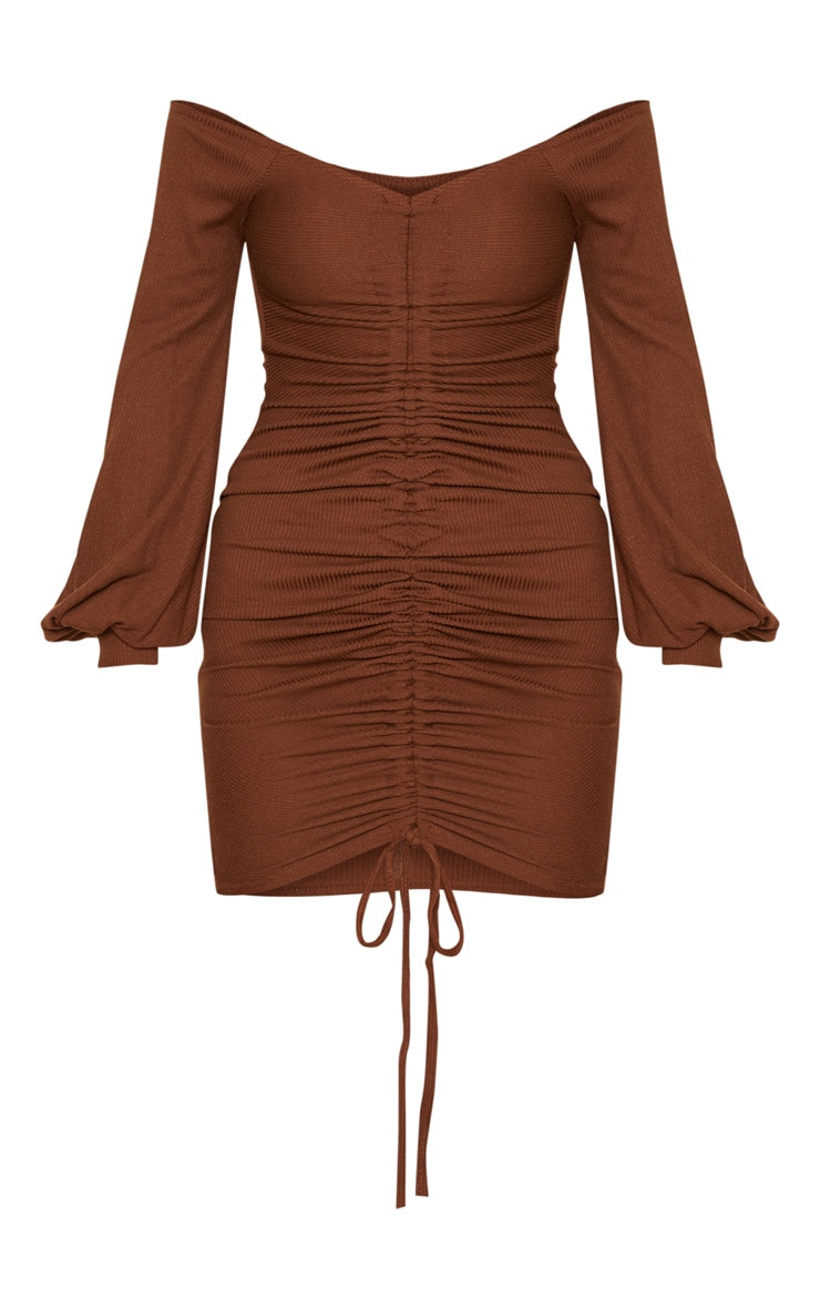 Chocolate Brown Ribbed Bardot Balloon Sleeve Ruched Bodycon Dress 3