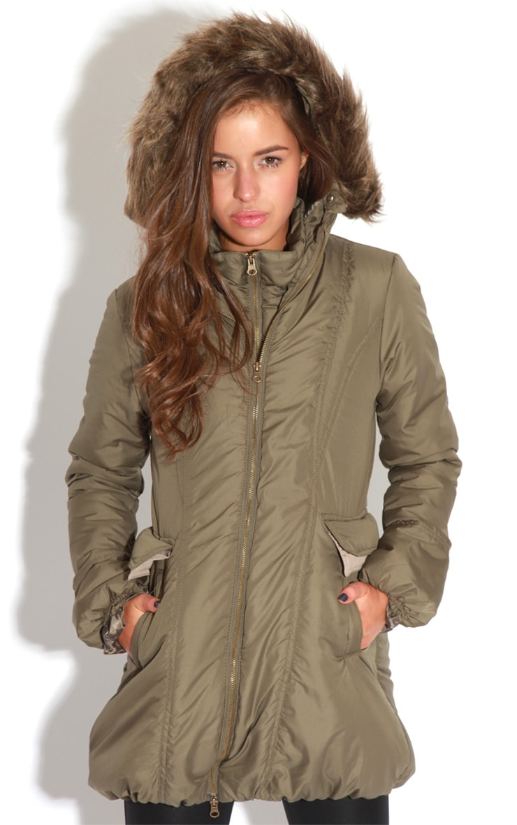Cyra Khaki Parka With Fur Hood -16 1