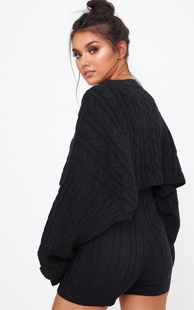 Black Over Sized Crop Knit Sweater 2