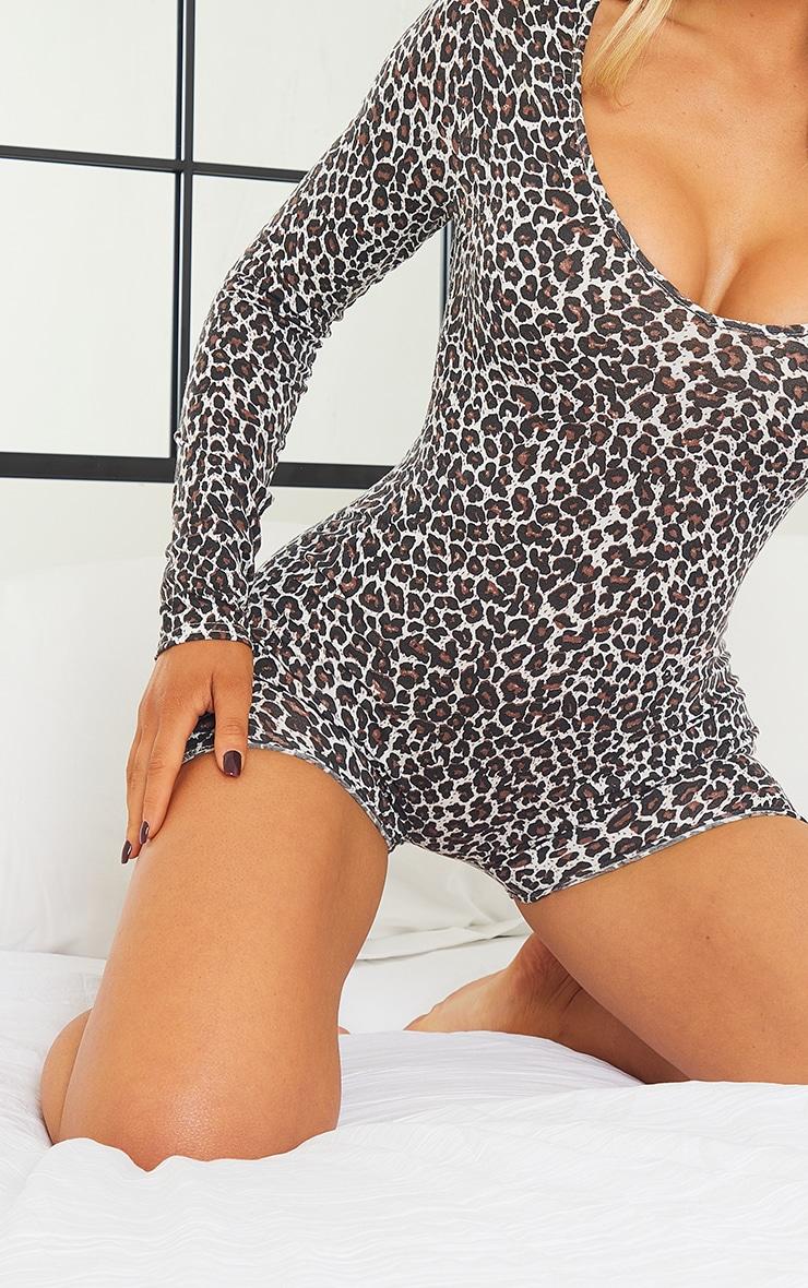 Brown Leopard Print PJ Romper 4