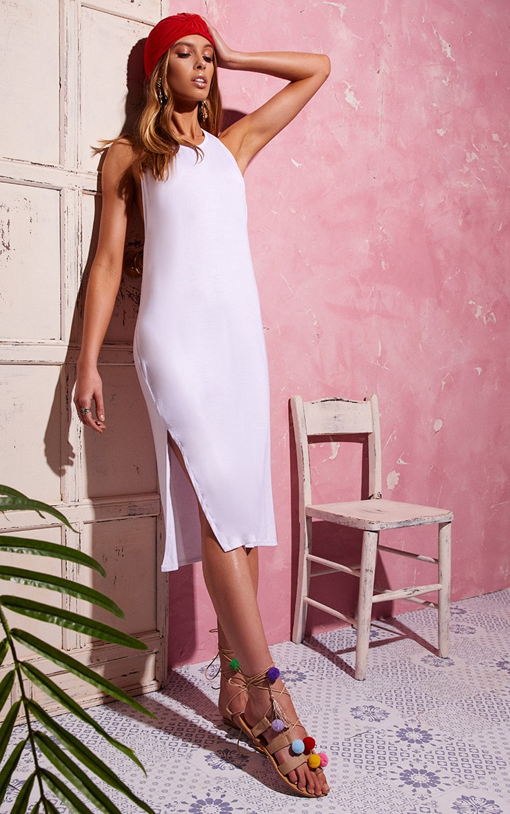 White Backless Strappy Midi Dress