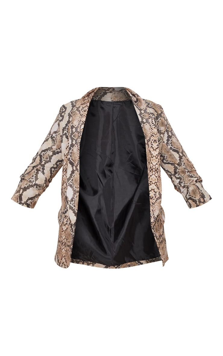 Brown Snake Print Pocket Detail Ruched Sleeve Blazer  3