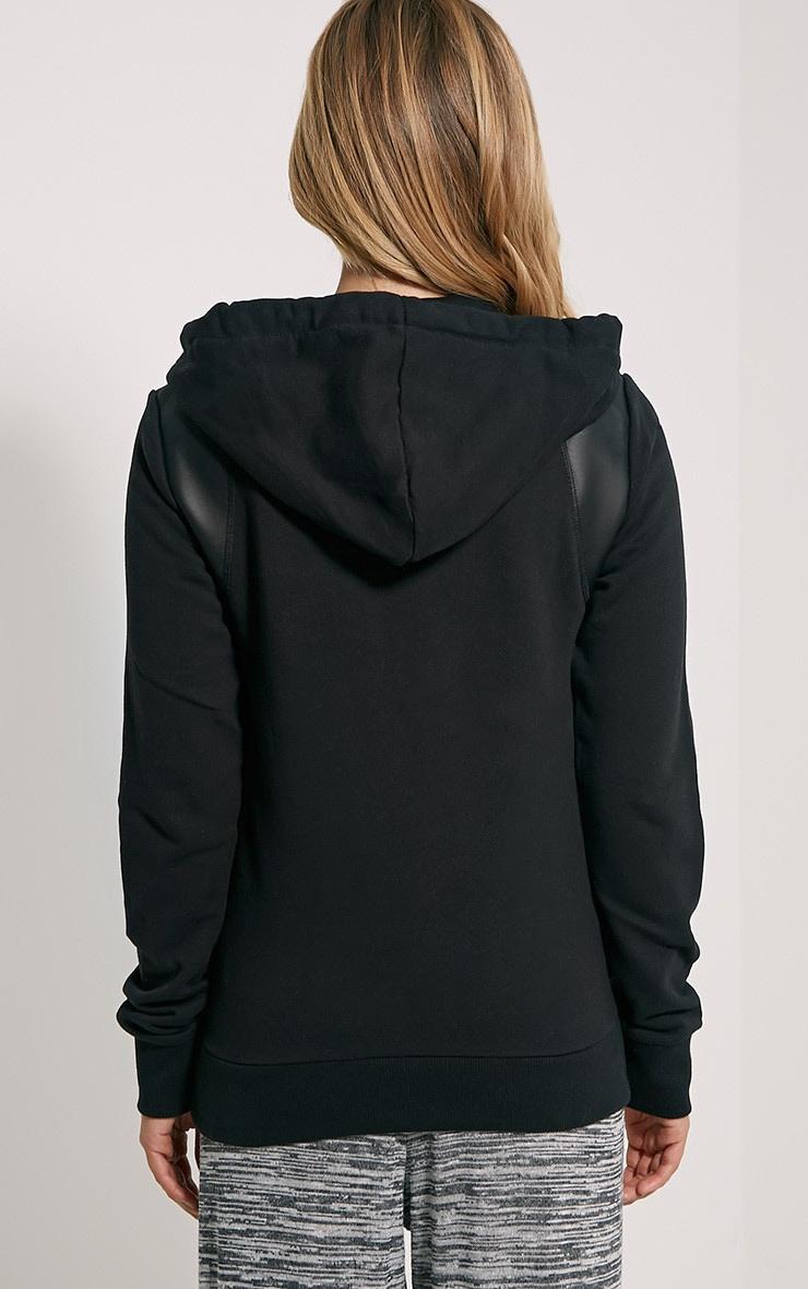 Neriah Black Faux Leather Panel Hoodie 4