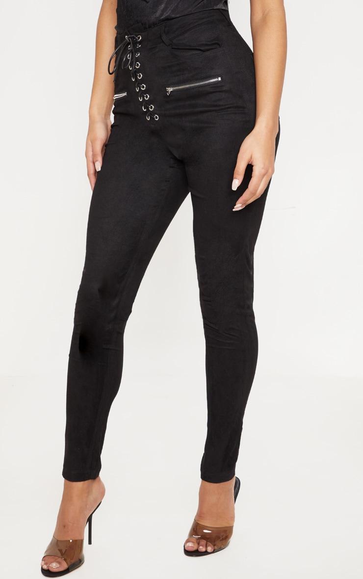 Black Faux Suede Lace Up Front Skinny Leg Trouser 2