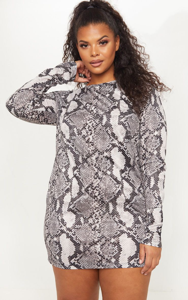824f22ef3 Plus Taupe Snake Print Oversized Long Sleeve T Shirt Dress image 1