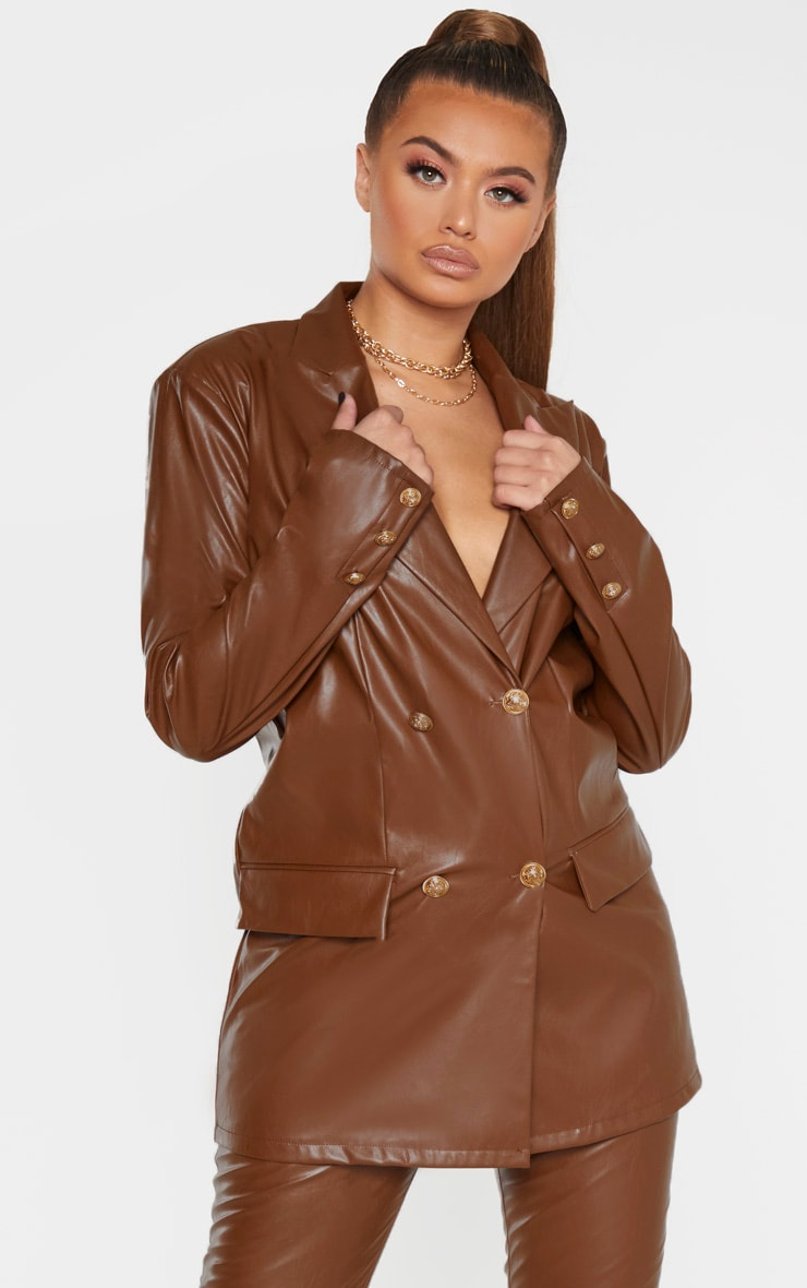 Brown PU Oversized Double Breasted Pocket Front Blazer 6