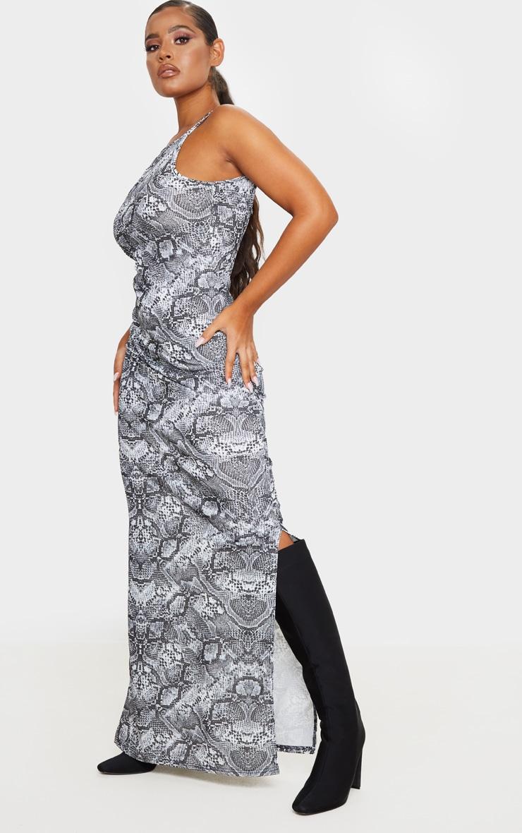 Grey Snake Print Racer Neck Low Back Maxi Dress 1