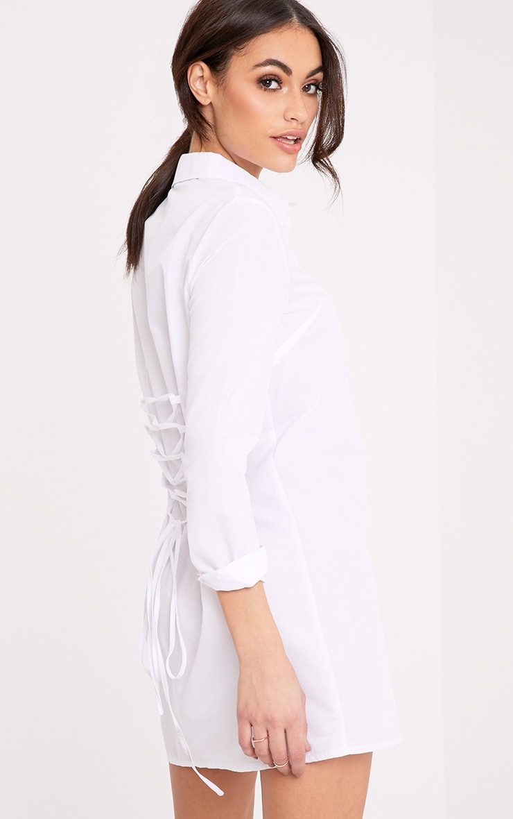 Olivia White Corset Back Shirt Dress 1