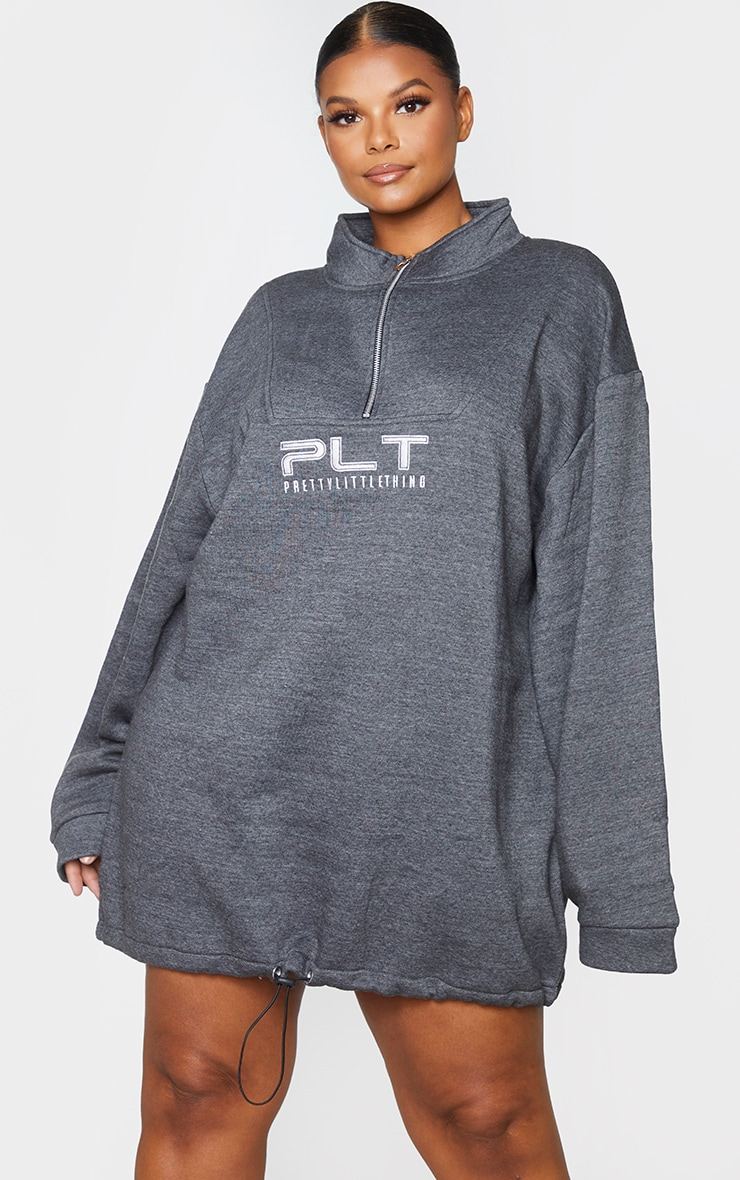 PRETTYLITTLETHING Plus Charcoal Logo Zip Front Sweat Dress 3