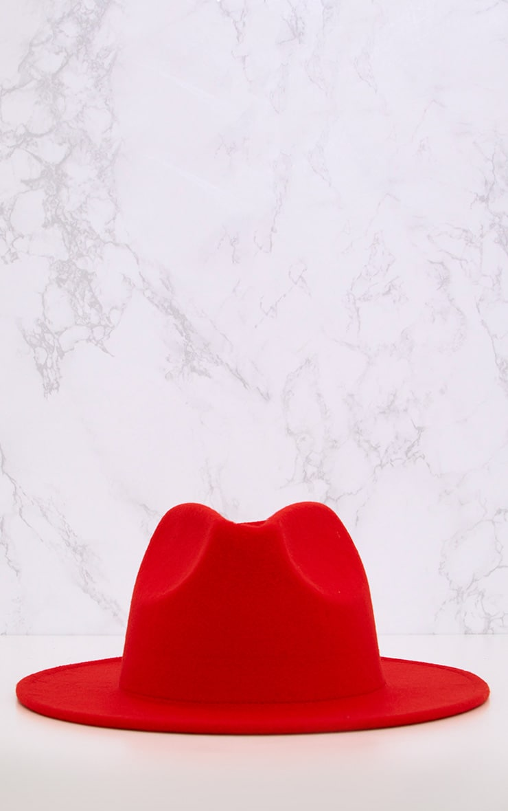 Tomato Red Felt Fedora Hat 3