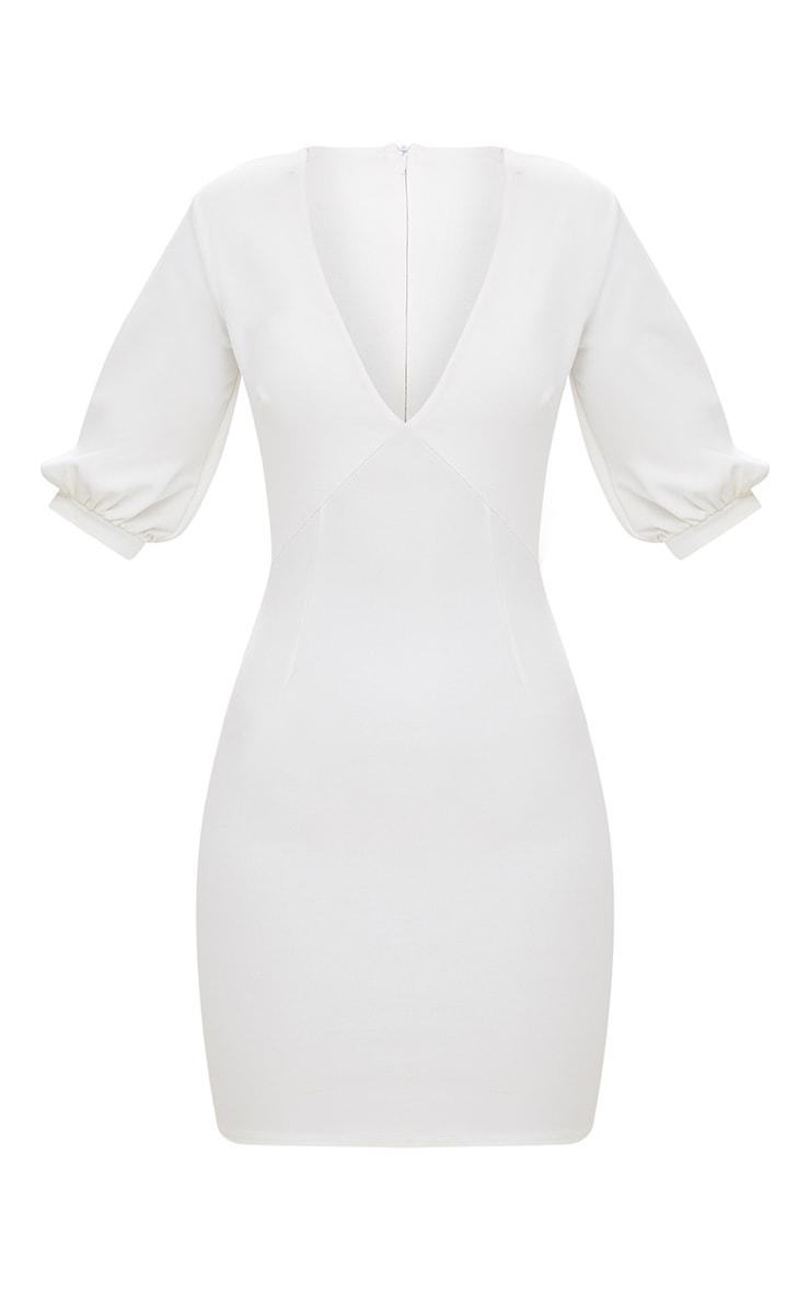 White Neck Tie Puff Sleeve Bodycon Dress 4